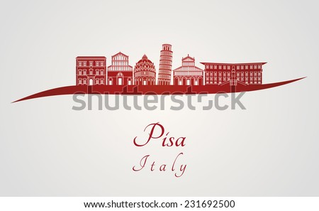 Pisa skyline in red and gray background in editable vector file - stock vector