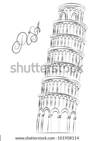 Pisa Tower, Italy. Vector sketch - stock vector