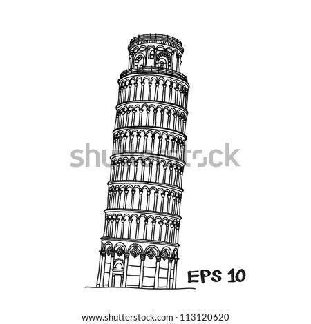 Pisa tower sketch vector illustration - stock vector