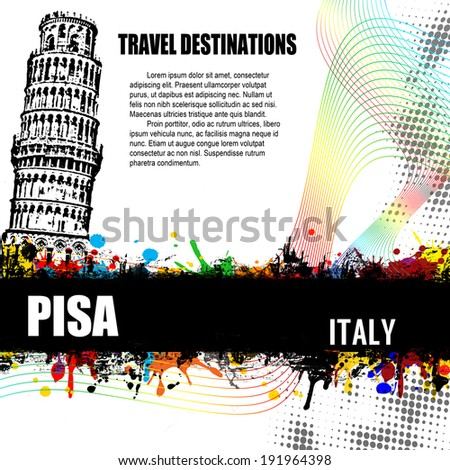 Pisa, vintage travel destination grunge poster with colored splash and space for your text, vector illustration - stock vector