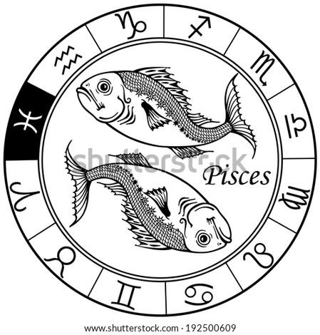 Pisces Astrological Zodiac Sign Black White Stock Vector 192500609