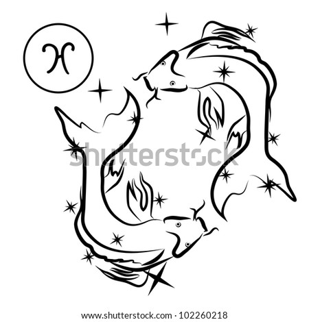 Pisces/Lovely zodiac sign silhouette formed by stars isolated on white, layered eps10 format available - stock vector