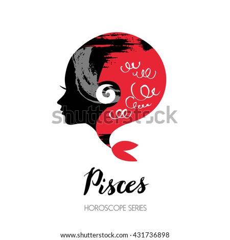 Pisces zodiac sign. Beautiful girl silhouette. Vector illustration. Horoscope series - stock vector