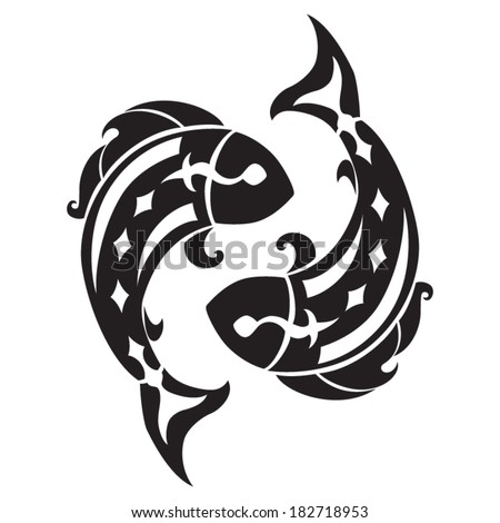 Pisces zodiac sign. Isolated on white background. Vector Illustration