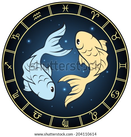 Pisces zodiac sign. Vector Illustration  - stock vector