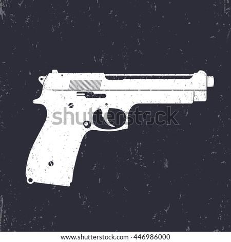 pistol, gun, modern semi-automatic handgun, white on dark, vector illustration - stock vector