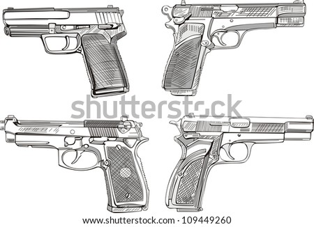 Pistol sketches. Set of black and white vector illustrations. - stock vector
