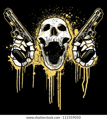 Pistol Toting Skull Vector illustration of a skull toting two 9mm pistols. Skull is screaming while holding pistols in front of a dripping splatter paint graffiti - urban background. - stock vector