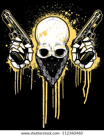 Pistol Toting Skull with Bandana Vector illustration of a skull wearing a black bandana over his face while holding two 9mm pistols in front of a dripping splatter paint graffiti - urban background. - stock vector
