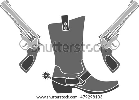 pistols and boot with spurs. vector illustration