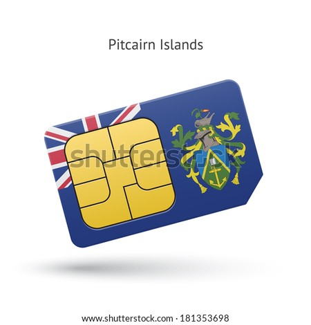 Pitcairn Islands mobile phone sim card with flag. Vector illustration.