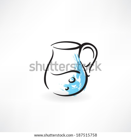 pitcher of water grunge icon - stock vector