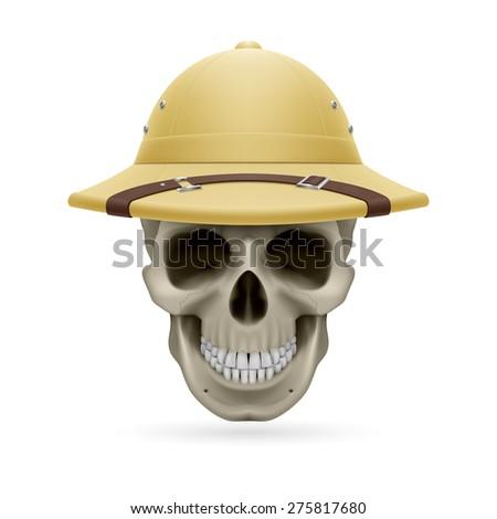 Pith helmet on skull isolated on white background - stock vector