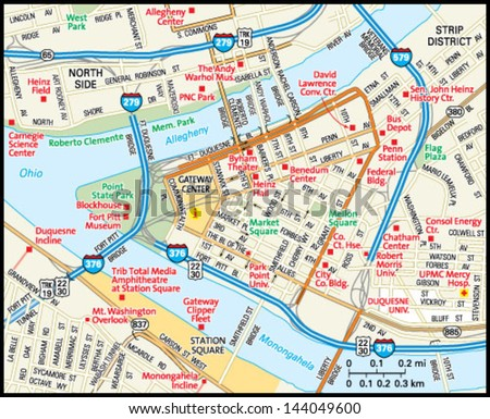 pittsburgh map stock images royalty free images vectors