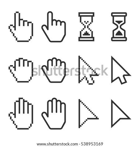 Pixel Smooth Cursors Icons Mouse Hand Stockvector Rechtenvrij