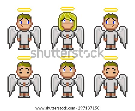 Pixel angels for video game and design 8 bit