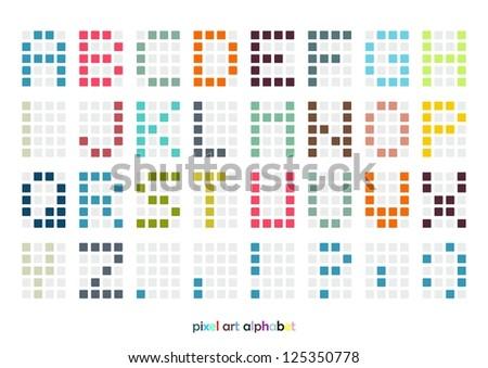 Pixel art alphabet font in pastel colors (vector) - stock vector