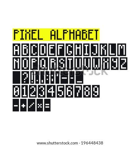 Pixel art alphabet with letters, numbers, punctuation marks and mathematical symbols - stock vector