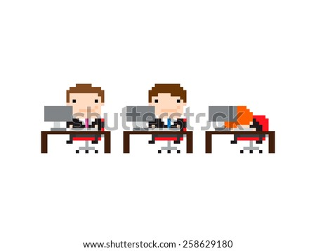 Pixel art background with office workers with one sleeping on the table at work - stock vector