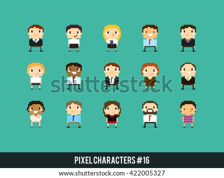 Pixel art 8-bit business people, office characters with different gender, skin color and appearance