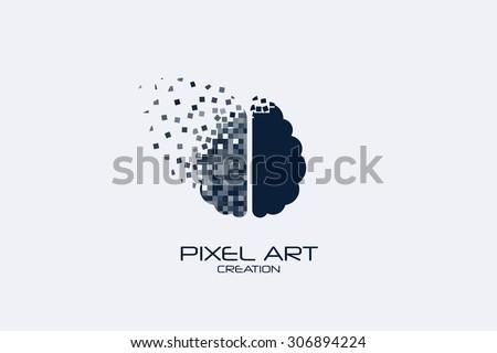 Pixel art brain logo on white background. - stock vector
