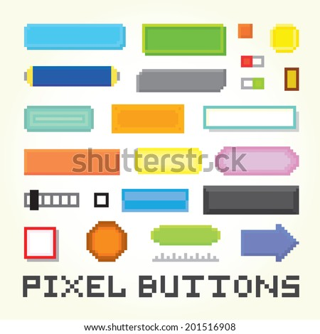Pixel art buttons vector set - stock vector