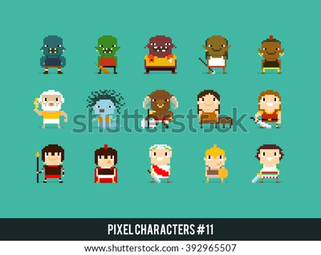 Pixel art characters, orcs, greek mythology characters and roman warriors