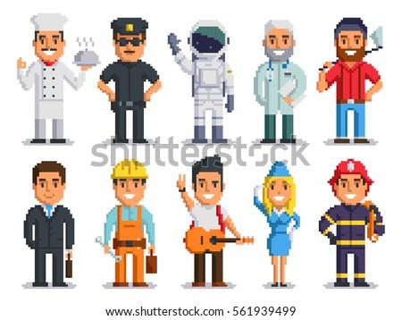 Pixel art characters set professions pixel stock vector for Pixel people interior designer