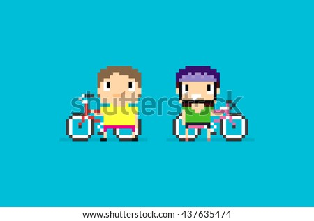 Pixel art characters with mountain bikes, two 8-bit bicyclists isolated on blue background