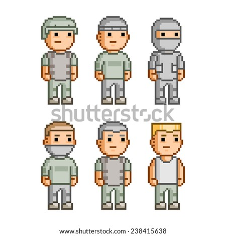 Pixel art collection of different characters soldiers - stock vector