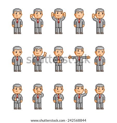 Pixel art collection of different emotions and actions - stock vector