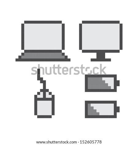 pixel art computer icon theme set - stock vector