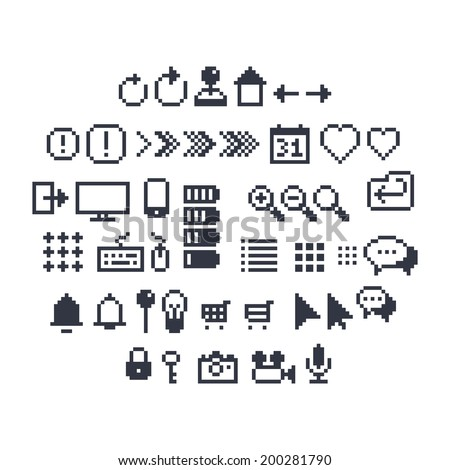 Pixel art contour, black and white 8-bit icons for website or mobile user interface - stock vector