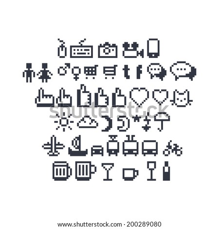 Pixel art contour, black and white input devices, social networks, message bubbles, hand pointing index finger and thumbs up likes, weather, beer and coffee mugs, cocktail glasses and other UI icons - stock vector