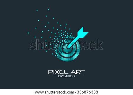 Pixel art design of the arrow in the target logo. - stock vector
