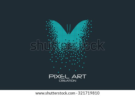 Pixel art design of the butterfly logo. - stock vector