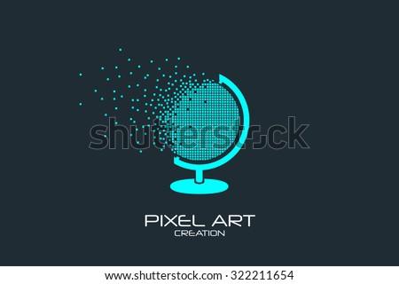 Pixel art design of the globe logo. - stock vector