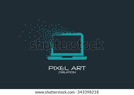 Pixel art design of the laptop icon logo. - stock vector