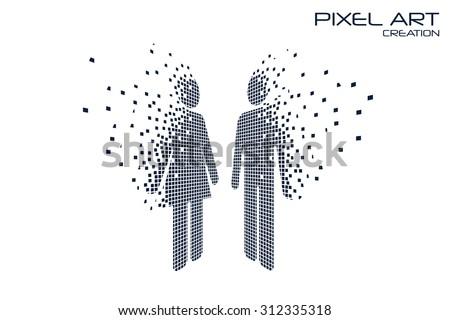 Pixel art design of the man and woman logo. - stock vector