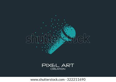 Pixel art design of the microphone logo. - stock vector