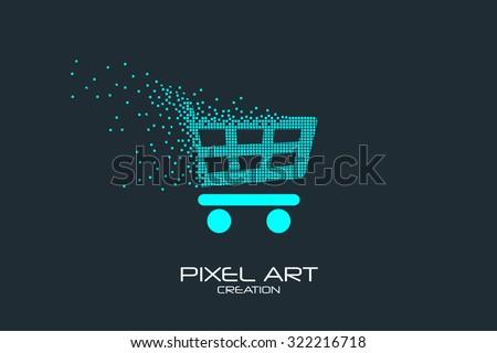 Pixel art design of the shopping cart  logo. - stock vector