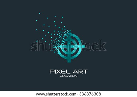 Pixel art design of the sight logo. - stock vector