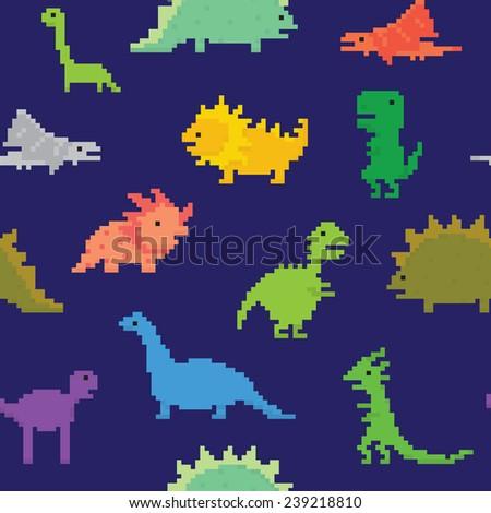 Pixel art dinos seamless vector pattern (navy) - stock vector
