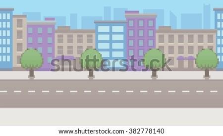 Pixel art empty city vector pattern background layer illustration - stock vector