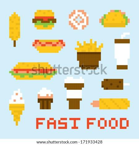 Pixel art fast food vector set - stock vector