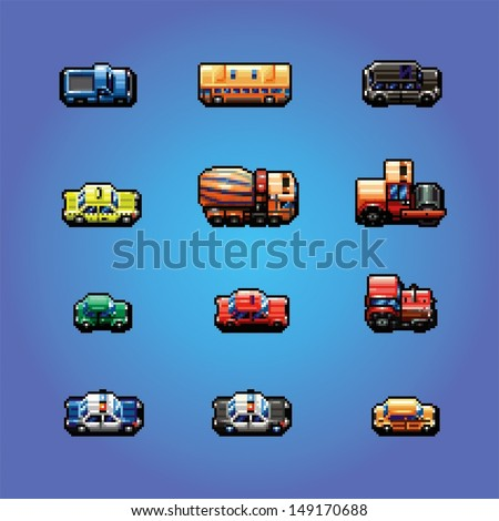pixel art game cars collection, vector illustration - stock vector