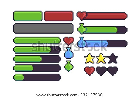 Pixel art game interface elements for hitpoints, mana, energy, stamina. Loading bar, stars and buttons