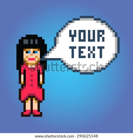 pixel art girl in red dress with speech bubble illustration - stock vector
