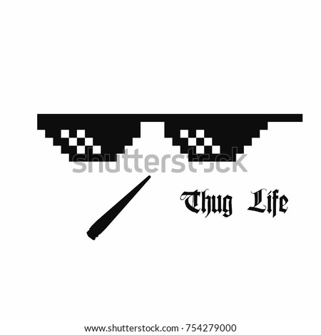 stock vector pixel art glasses thug life meme glasses with cannabis joint isolated on white background vector 754279000 pixel art glasses thug life meme stock vector (2018) 754279000