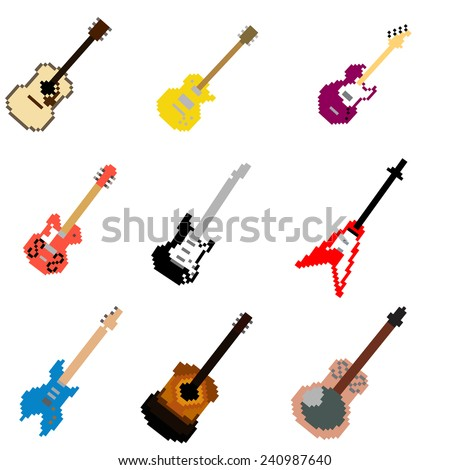 Pixel Art Guitar Collection - stock vector